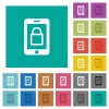 Smartphone lock square flat multi colored icons - Smartphone lock multi colored flat icons on plain square backgrounds. Included white and darker icon variations for hover or active effects.