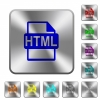 HTML file format engraved icons on rounded square glossy steel buttons - HTML file format rounded square steel buttons