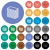 Paper stack round flat multi colored icons - Paper stack multi colored flat icons on round backgrounds. Included white, light and dark icon variations for hover and active status effects, and bonus shades on black backgounds.