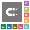 Horseshoe magnet square flat icons - Horseshoe magnet flat icons on simple color square backgrounds