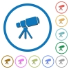 Space telescope flat color vector icons with shadows in round outlines on white background - Space telescope icons with shadows and outlines