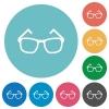 Eyeglasses flat round icons - Eyeglasses flat white icons on round color backgrounds