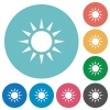 Sun flat round icons - Sun flat white icons on round color backgrounds