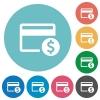Dollar credit card flat round icons - Dollar credit card flat white icons on round color backgrounds