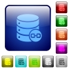 Joined database tables color square buttons - Joined database tables icons in rounded square color glossy button set