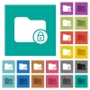 Lock directory square flat multi colored icons - Lock directory multi colored flat icons on plain square backgrounds. Included white and darker icon variations for hover or active effects.