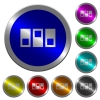 Switchboard luminous coin-like round color buttons - Switchboard icons on round luminous coin-like color steel buttons