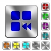 Component fast backward rounded square steel buttons - Component fast backward engraved icons on rounded square glossy steel buttons