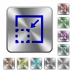 Minimize element rounded square steel buttons - Minimize element engraved icons on rounded square glossy steel buttons