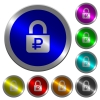 Locked Rubles luminous coin-like round color buttons - Locked Rubles icons on round luminous coin-like color steel buttons