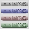Credit card transaction history icons on horizontal menu bars - Credit card transaction history icons on rounded horizontal menu bars in different colors and button styles