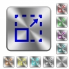 Maximize element rounded square steel buttons - Maximize element engraved icons on rounded square glossy steel buttons