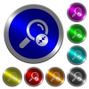 Narrowing search results icons on round luminous coin-like color steel buttons - Narrowing search results luminous coin-like round color buttons