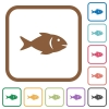 Fish simple icons in color rounded square frames on white background - Fish simple icons