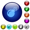 Bomb with sparkling fuse color glass buttons - Bomb with sparkling fuse icons on round color glass buttons