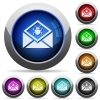 Open mail with malware symbol round glossy buttons - Open mail with malware symbol icons in round glossy buttons with steel frames