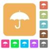 Umbrella rounded square flat icons - Umbrella flat icons on rounded square vivid color backgrounds.
