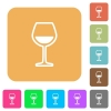 Glass of wine rounded square flat icons - Glass of wine flat icons on rounded square vivid color backgrounds.