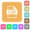 CDR file format rounded square flat icons - CDR file format flat icons on rounded square vivid color backgrounds.