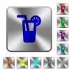 Longdrink rounded square steel buttons - Longdrink engraved icons on rounded square glossy steel buttons