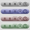 Database functions icons on horizontal menu bars - Database functions icons on rounded horizontal menu bars in different colors and button styles