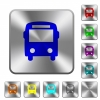 Bus rounded square steel buttons - Bus engraved icons on rounded square glossy steel buttons