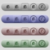Ruble financial report icons on horizontal menu bars - Ruble financial report icons on rounded horizontal menu bars in different colors and button styles