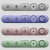Airplane icons on horizontal menu bars - Airplane icons on rounded horizontal menu bars in different colors and button styles