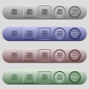 Servers icons on horizontal menu bars - Servers icons on rounded horizontal menu bars in different colors and button styles