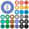Dollar sticker round flat multi colored icons - Dollar sticker multi colored flat icons on round backgrounds. Included white, light and dark icon variations for hover and active status effects, and bonus shades on black backgounds.