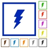 Lightning energy flat framed icons - Lightning energy flat color icons in square frames on white background