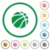 Basketball flat icons with outlines - Basketball flat color icons in round outlines on white background