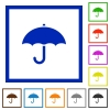 Umbrella flat framed icons - Umbrella flat color icons in square frames on white background