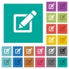 Editing box with pencil square flat multi colored icons - Editing box with pencil multi colored flat icons on plain square backgrounds. Included white and darker icon variations for hover or active effects.