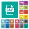 CSV file format square flat multi colored icons - CSV file format multi colored flat icons on plain square backgrounds. Included white and darker icon variations for hover or active effects.