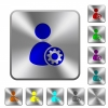 User account settings rounded square steel buttons - User account settings engraved icons on rounded square glossy steel buttons