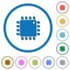Computer processor icons with shadows and outlines - Computer processor flat color vector icons with shadows in round outlines on white background