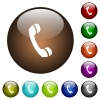Telephone call color glass buttons - Telephone call white icons on round color glass buttons