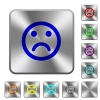 Sad emoticon rounded square steel buttons - Sad emoticon engraved icons on rounded square glossy steel buttons