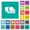 Pound banknotes square flat multi colored icons - Pound banknotes multi colored flat icons on plain square backgrounds. Included white and darker icon variations for hover or active effects.
