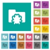 Bug folder square flat multi colored icons - Bug folder multi colored flat icons on plain square backgrounds. Included white and darker icon variations for hover or active effects.