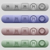 Yen cash machine icons on horizontal menu bars - Yen cash machine icons on rounded horizontal menu bars in different colors and button styles