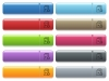 Move up playlist item icons on color glossy, rectangular menu button - Move up playlist item engraved style icons on long, rectangular, glossy color menu buttons. Available copyspaces for menu captions.