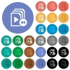 Playlist fast backward round flat multi colored icons - Playlist fast backward multi colored flat icons on round backgrounds. Included white, light and dark icon variations for hover and active status effects, and bonus shades on black backgounds.