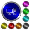 Desktop computer luminous coin-like round color buttons - Desktop computer icons on round luminous coin-like color steel buttons