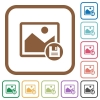 Save image simple icons - Save image simple icons in color rounded square frames on white background