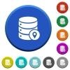 Database location beveled buttons - Database location round color beveled buttons with smooth surfaces and flat white icons