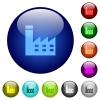 Factory building color glass buttons - Factory building icons on round color glass buttons