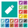 Pendrive square flat multi colored icons - Pendrive multi colored flat icons on plain square backgrounds. Included white and darker icon variations for hover or active effects.