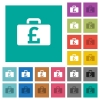Pound bag square flat multi colored icons - Pound bag multi colored flat icons on plain square backgrounds. Included white and darker icon variations for hover or active effects.